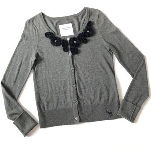 Abercrombie Fitch Gray Cardigan with Navy Flowers